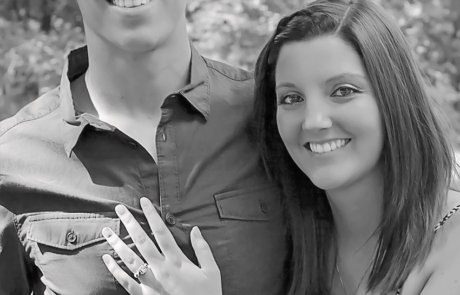Beautiful couple in a black and white photo from their photo session