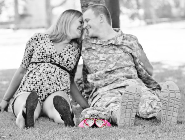 Shoe themed maternity photography session with a US Army soldier, and his wife.