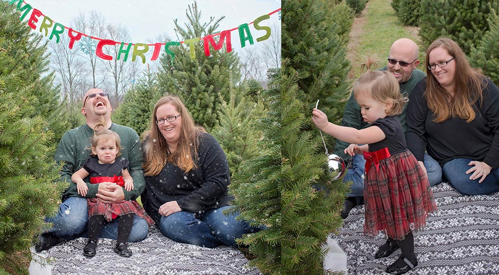 Two images of family with toddler at Christmas tree farm