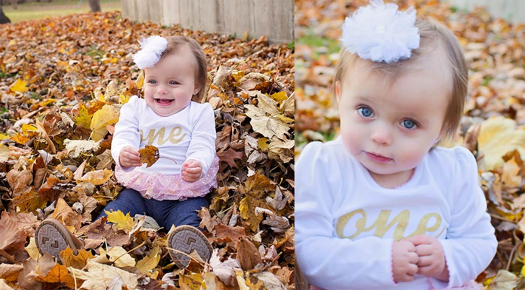 Two images of a little girl playing in the fall leaves